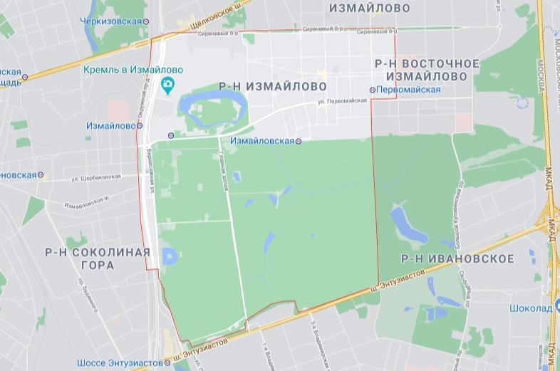 Район Измайлово на карте
