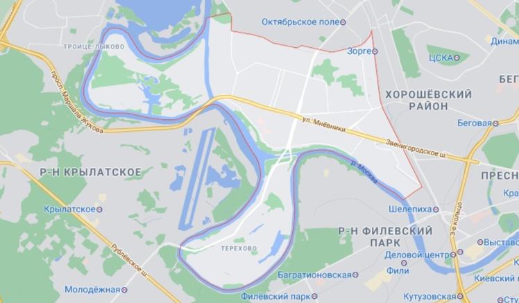 Район Хорошево-мневники на карте